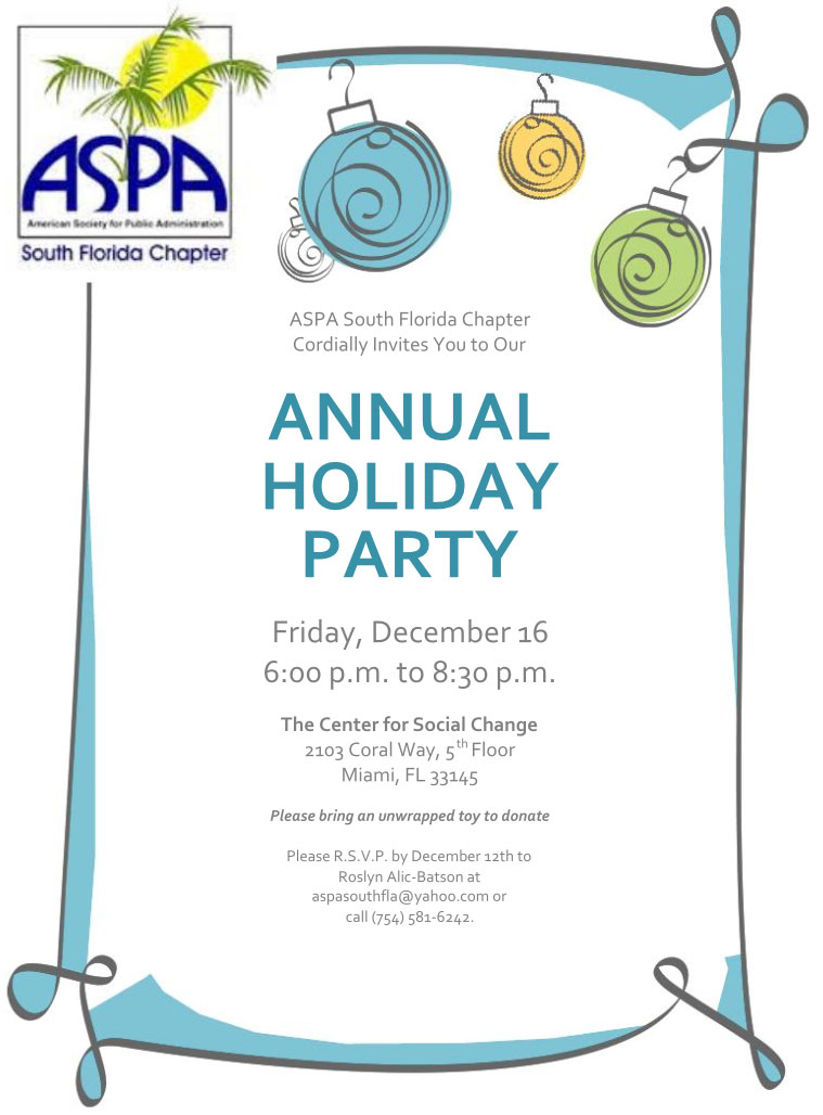 Aspa south florida chapter cordially invites you to our annual aspa south chapter 2016 annual holiday party stopboris Gallery